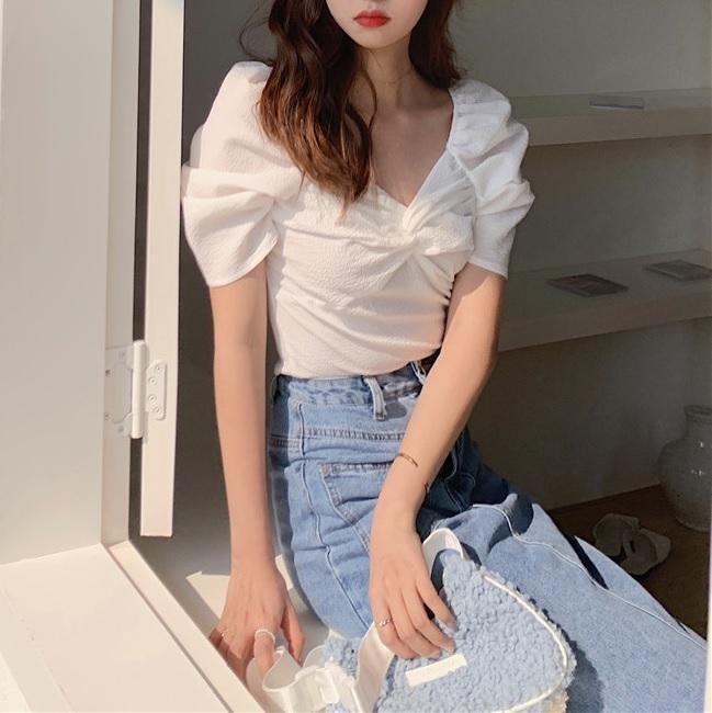 itGirl Shop RETRO ELEGANT CHEST KNOT THIN SHORT SLEEVED BLOUSE
