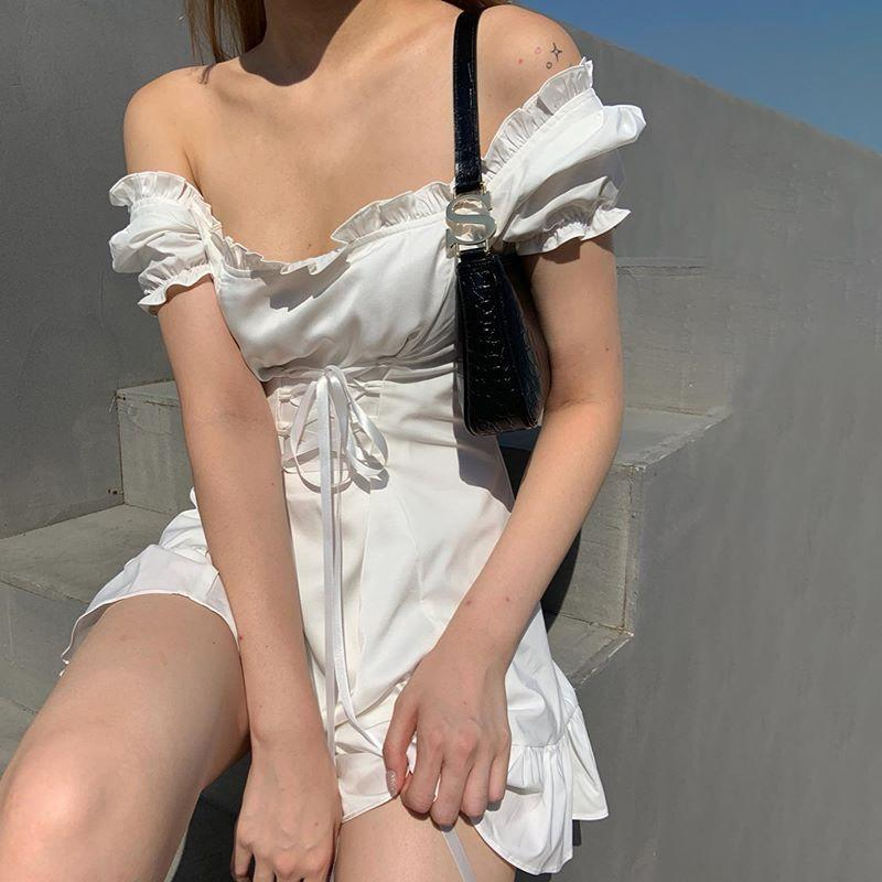 itGirl Shop RETRO LACE UP WAIST RUFFLES MINI WHITE DRESS