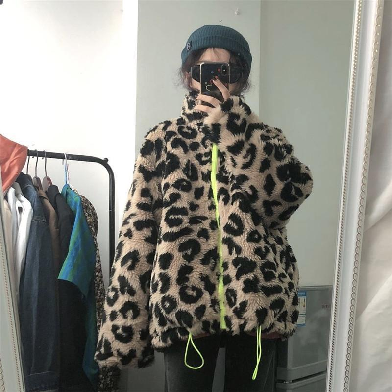 itGirl Shop RETRO LEOPARD FAUX FUR NEON ZIPPER JACKET