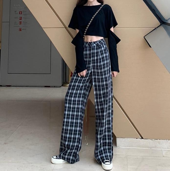 itGirl Shop RETRO LOOSE STRAIGHT HIGH WAIST PLAID PANTS