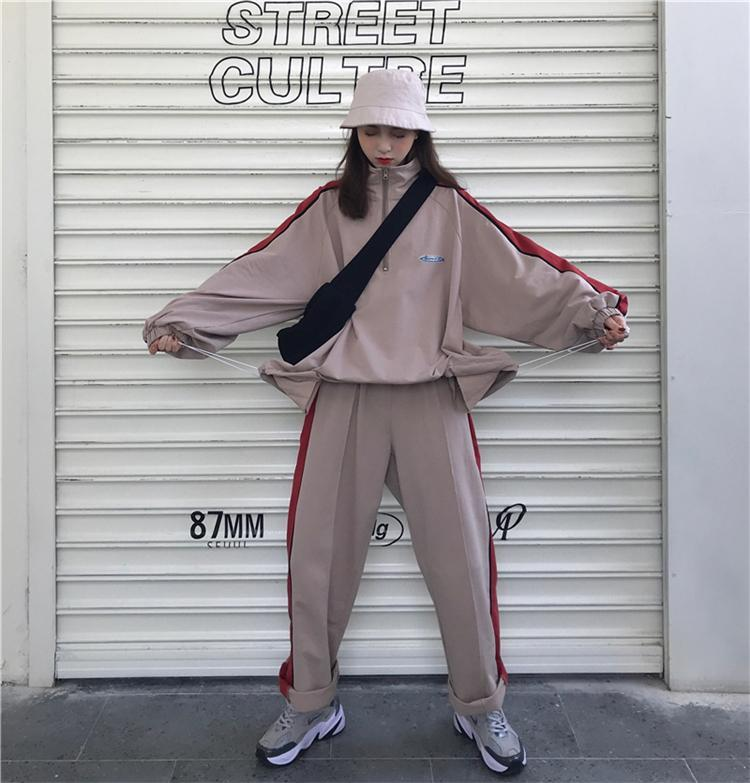 RETRO PASTEL AESTHETIC TWO PIECE LOOSE SPORTY SUIT