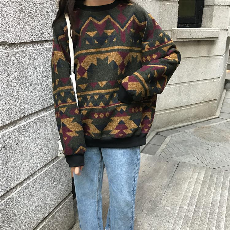 itGirl Shop RETRO PATTERN LOOSE O-NECK SWEATER