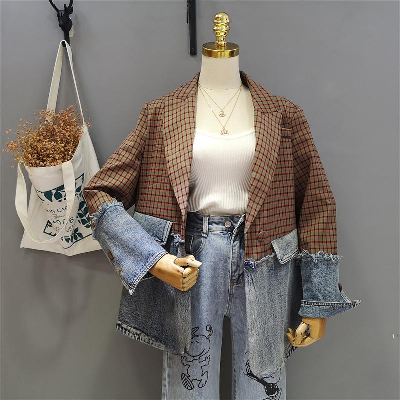 itGirl Shop RETRO PLAID AND DENIM STITCHED LOOSE JACKET
