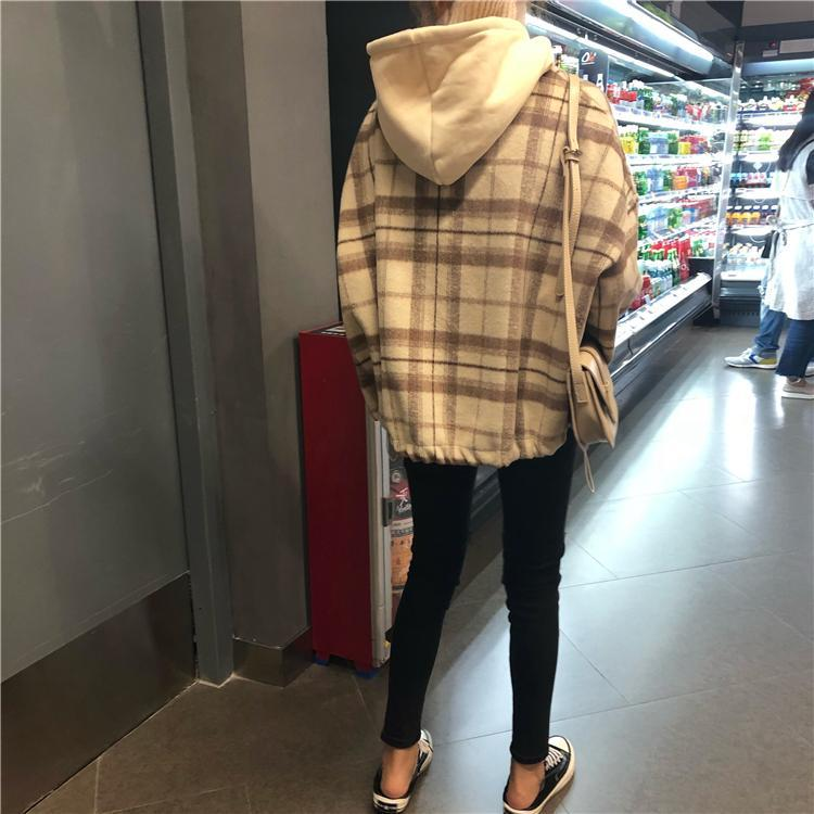 itGirl Shop RETRO PLAID GRAY BEIGE HIGH COLLAR HOODED JACKET
