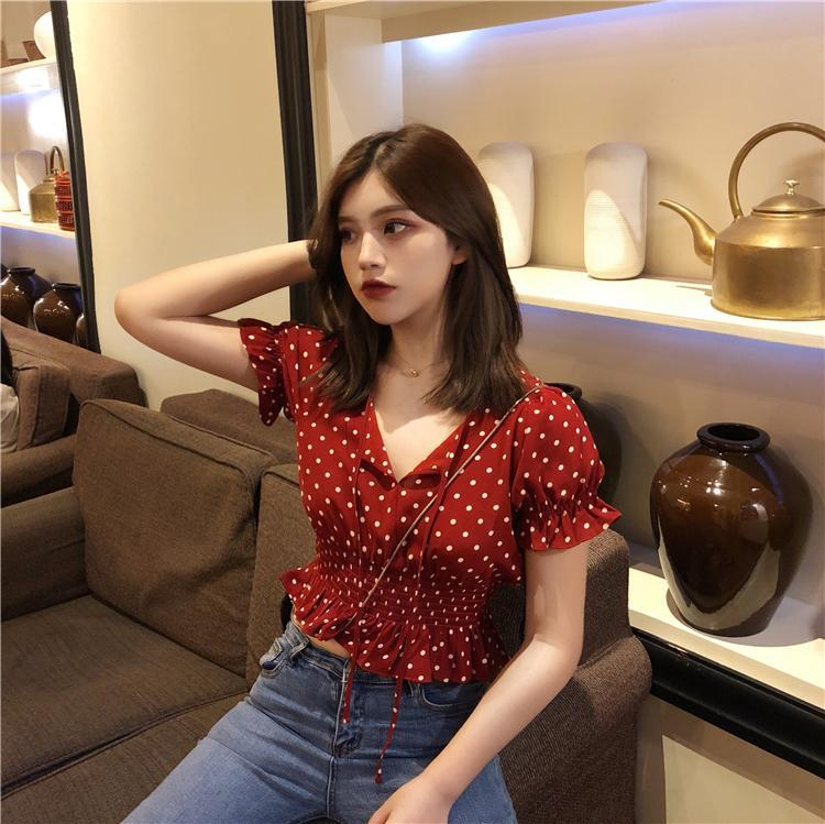 itGirl Shop RETRO RED POLKA DOT PUFF SLEEVES BLOUSE