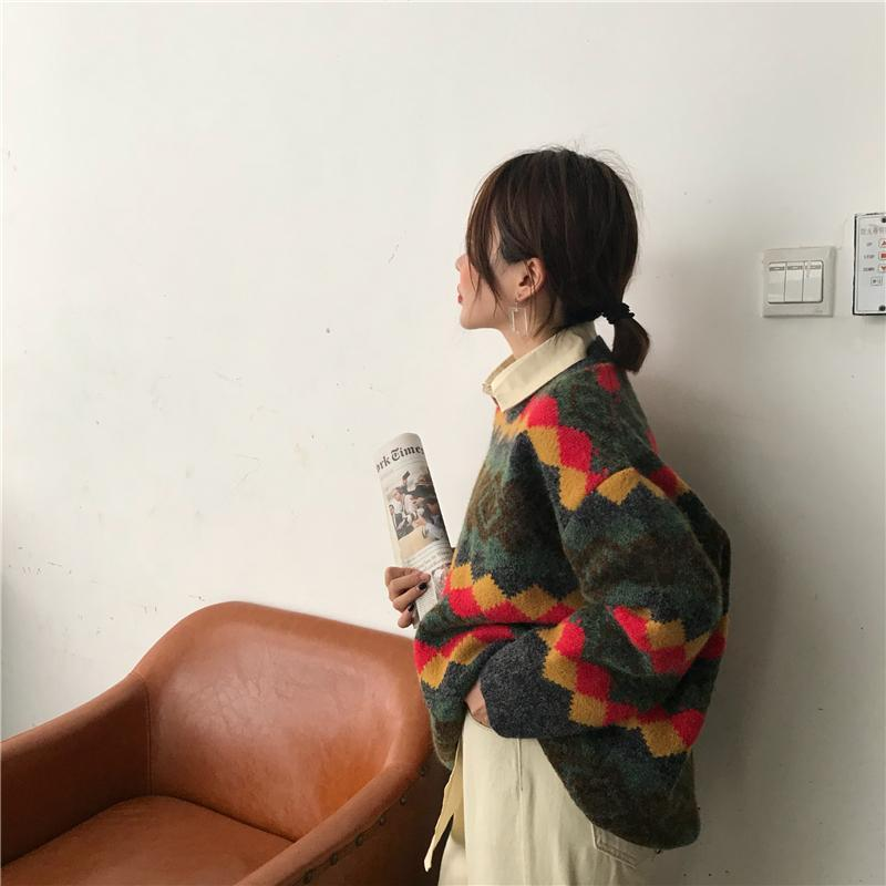 itGirl Shop RETRO RHOMBIC RUSTIC COLORFUL PATTERN SWEATER