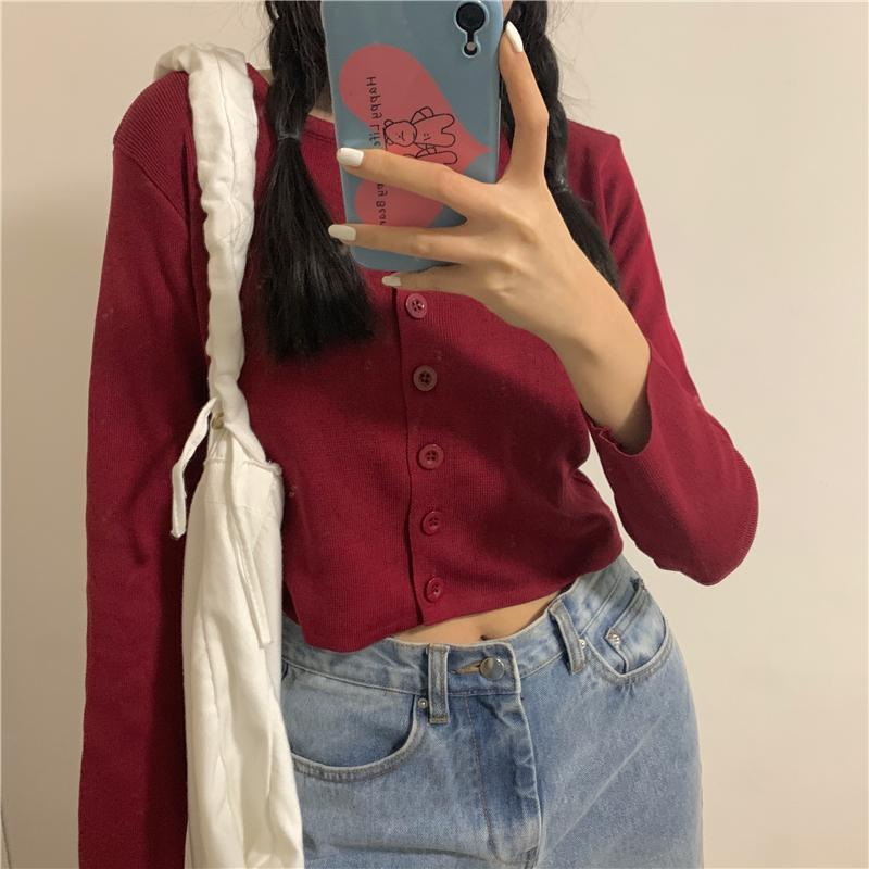 itGirl Shop RETRO SOLID COLORS THIN CROPPED CARDIGAN