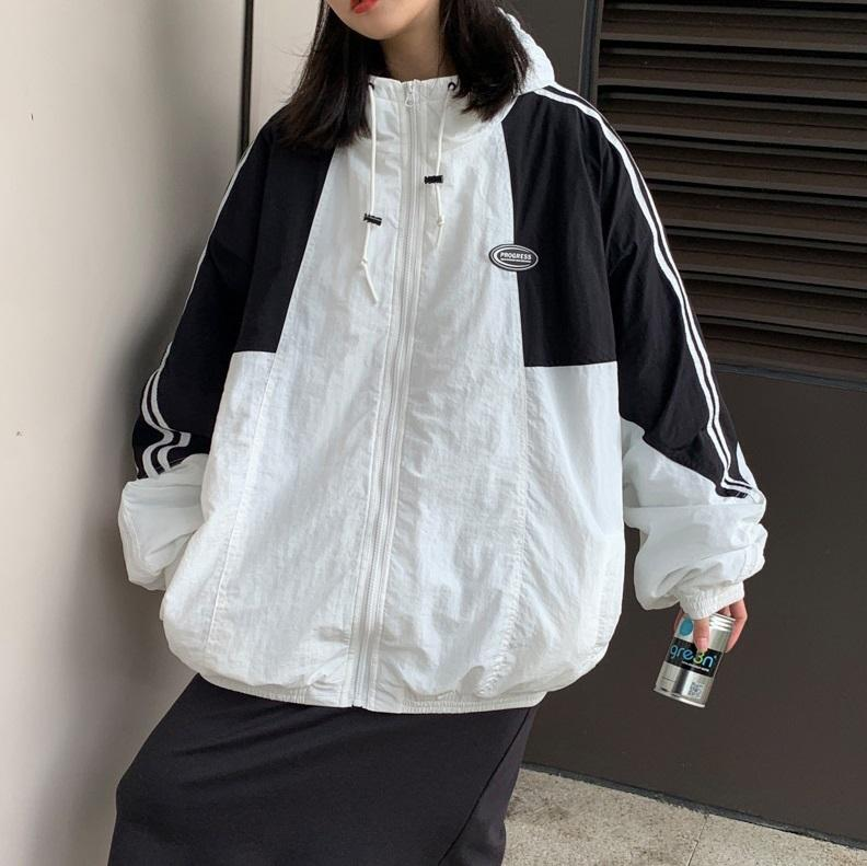 itGirl Shop RETRO SPORTY SIDE STRIPES LOOSE WINDBREAKER JACKET
