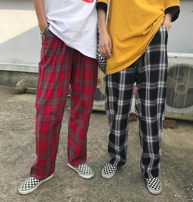 itGirl Shop RETRO TARTAN PLAID AESTHETIC STRAIGH LOOSE PANTS
