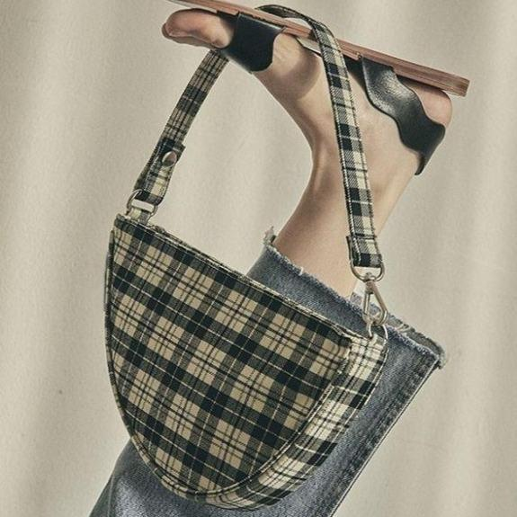 itGirl Shop RETRO TARTAN PLAID SHOULDER SADDLE BAG