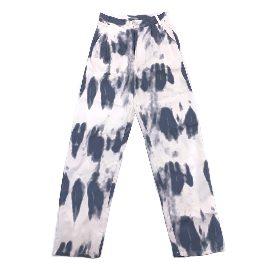 itGirl Shop RETRO TIE DYE PRINT LOOSE HIGH WAIST WHITE PANTS
