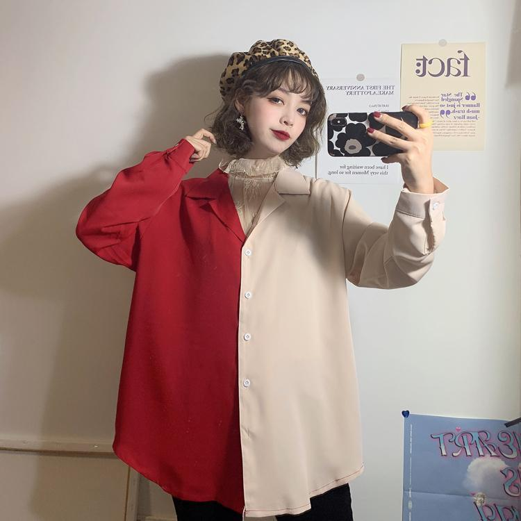 itGirl Shop RETRO TWO COLORS LOOSE SHIRT + THIN CHIFFON BLOUSE