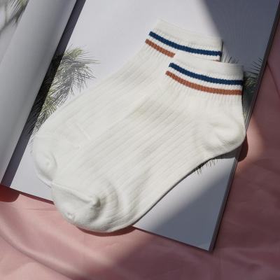 itGirl Shop RETRO VINTAGE DOUBLE LINES ANKLE WHITE SOCKS