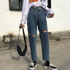 RETRO WASHED HIGH WAIST KNEE HOLES STRAIGHT JEANS