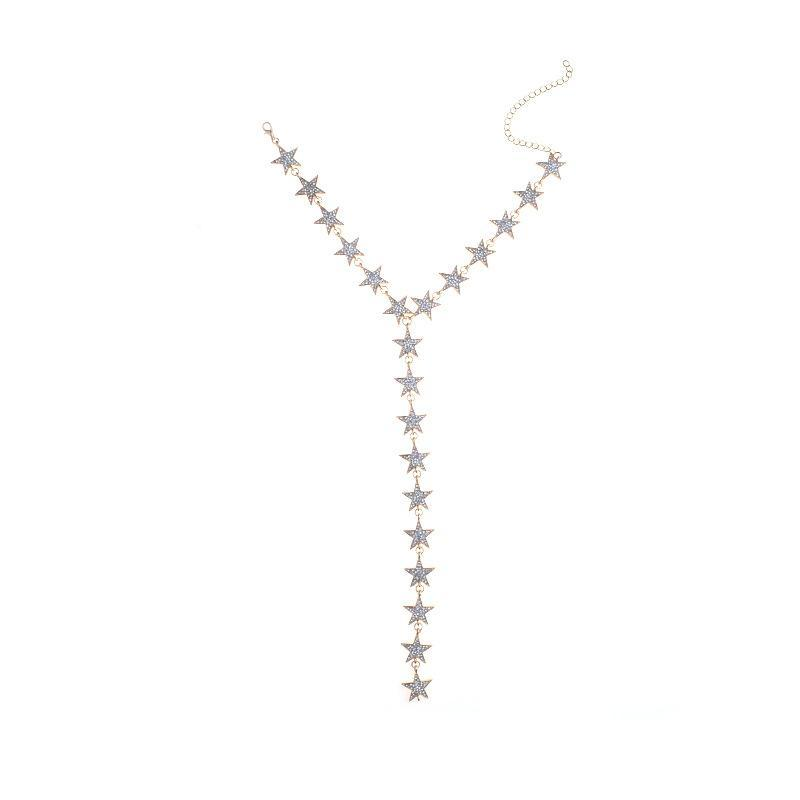 itGirl Shop RHINESTONE STARS LONG CHEST LINE METALLIC CHOKER NECKLACE