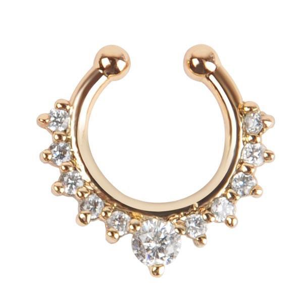 itGirl Shop RHINESTONES STEEL FAKE SEPTUM NOSE RINGS