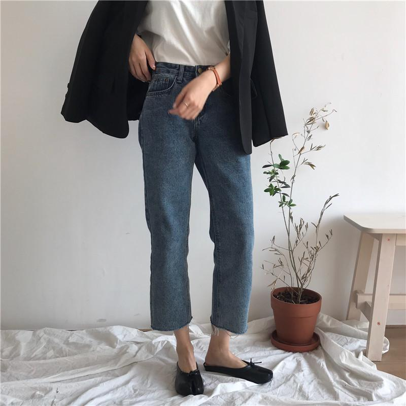 itGirl Shop RIPPED EDGES RETRO BLUE DENIM STRAIGHT JEANS