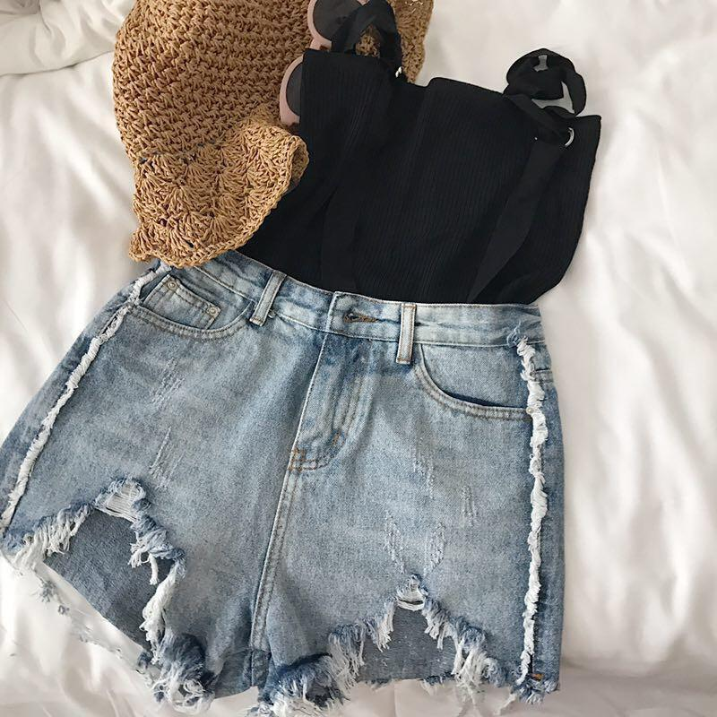 itGirl Shop RIPPED OFF SUMMER DENIM LIGHT BLUE CASUAL SHORTS Aesthetic Apparel, Tumblr Clothes, Soft Grunge, Pastel goth, Harajuku fashion. Korean and Japan Style looks