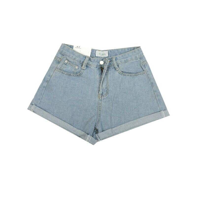 itGirl Shop ROLLED-UP WIDE LEG HIGH WAIST DENIM SHORTS