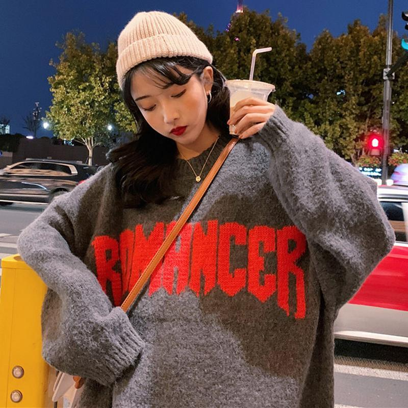 itGirl Shop ROMANCER FONT BLUE OVERSIZE O-NECK SWEATER