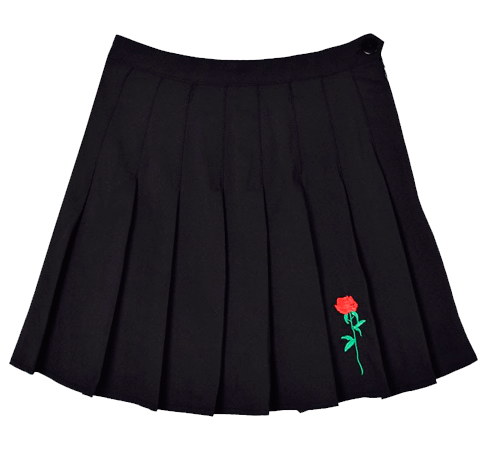 itGirl Shop ROSE EMBROIDERY AESTHETIC PLEATED BLACK SKIRT Aesthetic Apparel, Tumblr Clothes, Soft Grunge, Pastel goth, Harajuku fashion. Korean and Japan Style looks