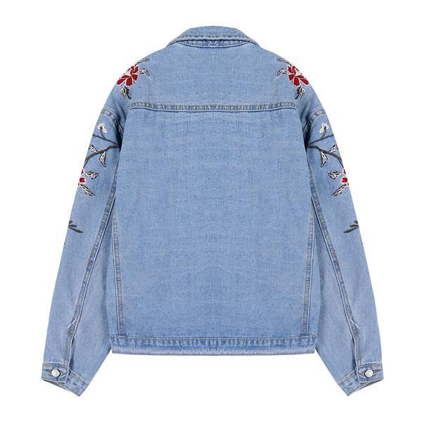 itGirl Shop ROSES CUTE EMBROIDERY DENIM JACKET