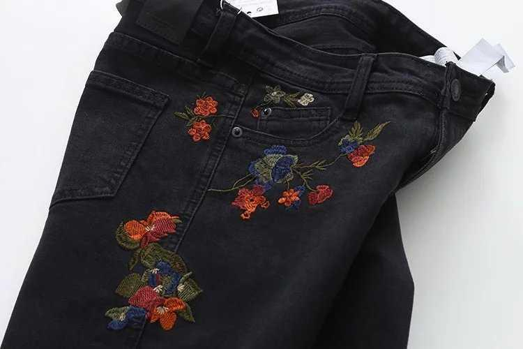 itGirl Shop ROSES EMBROIDERY BLACK SKINNY JEANS