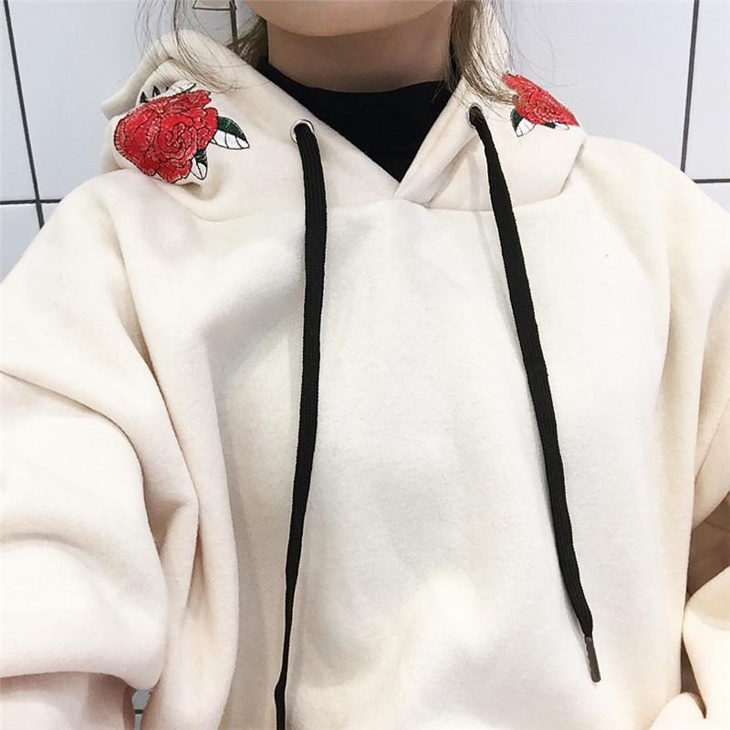 itGirl Shop ROSES EMBROIDERY HOOD LONG SLEEVE HOODIE