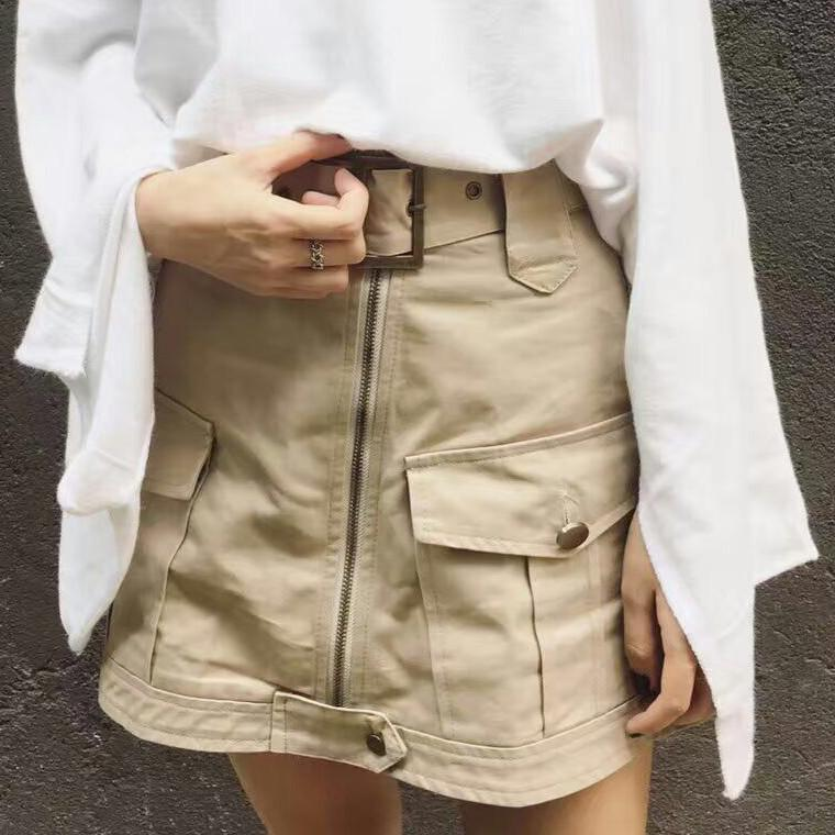itGirl Shop SAFARI BELT POCKETS ABOVE KNEE SKIRT