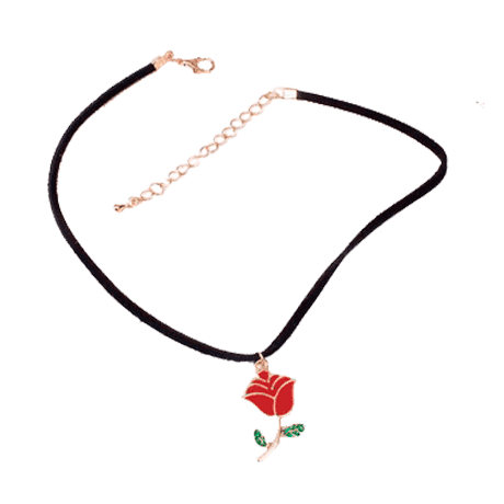 itGirl Shop SALE ACRILIC RED ROSE NECKLACE CHOKER