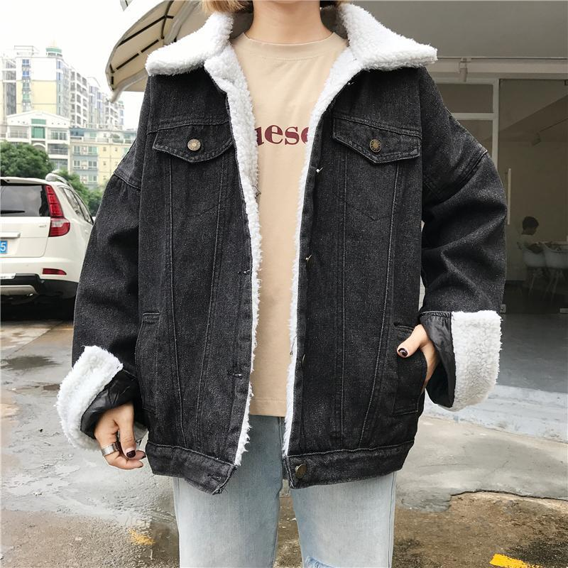 itGirl Shop SALE BLACK DENIM BUTTONS FLUFFY WHITE COLLAR OUTWEAR JEAN JACKET