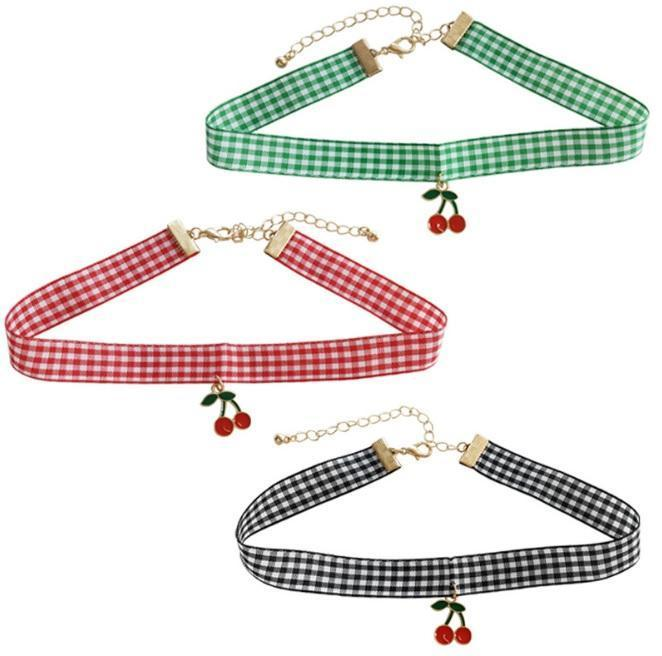 itGirl Shop SALE CHERRY PLAID TARTAN CHOKER NECKLACE