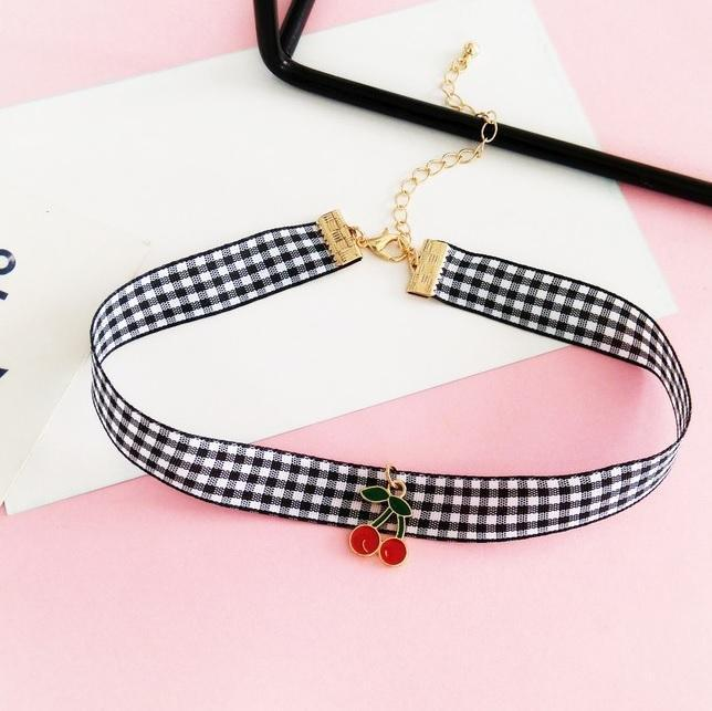 itGirl Shop CHERRY PLAID TARTAN CHOKER NECKLACE Aesthetic Apparel, Tumblr Clothes, Soft Grunge, Pastel goth, Harajuku fashion. Korean and Japan Style looks