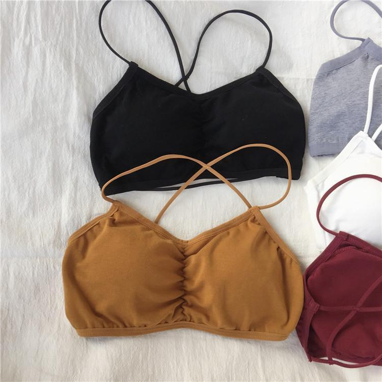 itGirl Shop SALE COTTON CAMIS BRA TOP STRAPPY BACK UNDERWEAR