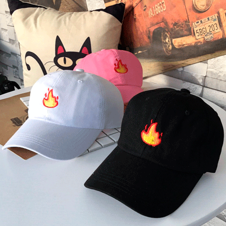 itGirl Shop SALE FIRE EMOJI EMBROIDERY BASEBALL CAP