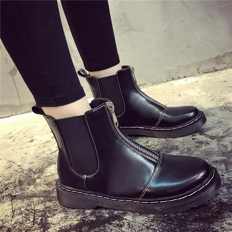 itGirl Shop SALE FRONT ZIPPER FLAT LEATHER BOOTS