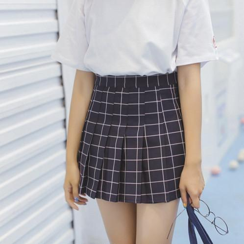 itGirl Shop SALE GRID SCHOOL SHORT PLEATED SKIRT