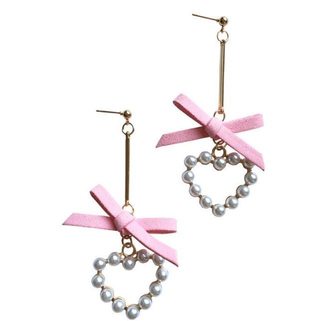 itGirl Shop SALE METALLIC THIN STICK LACE BOW PEARL HEARTS EARRINGS