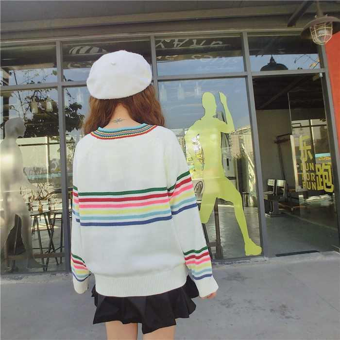 itGirl Shop SALE RAINBOW STRIPES WHITE KNIT VOLUME SWEATER