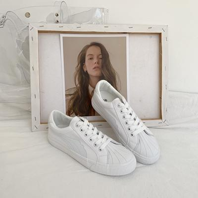 SATIN SHELL LEATHER LACE UP FLAT SNEAKERS