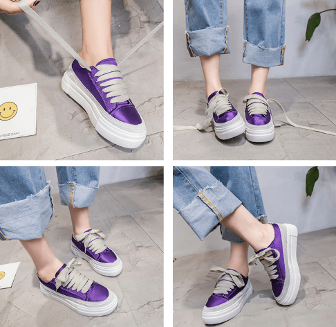 itGirl Shop SATIN SHINY LACEUP FLATFORM CASUAL SNEAKERS