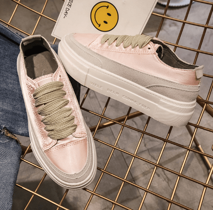 itGirl Shop SATIN SHINY LACEUP FLATFORM CASUAL SNEAKERS Aesthetic Apparel, Tumblr Clothes, Soft Grunge, Pastel goth, Harajuku fashion. Korean and Japan Style looks