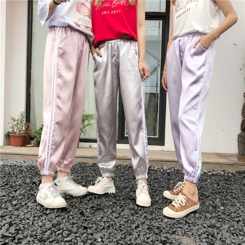 itGirl Shop SATIN SHINY PASTEL COLOURS SIDE SPORT STRIPES ELASTIC PANTS