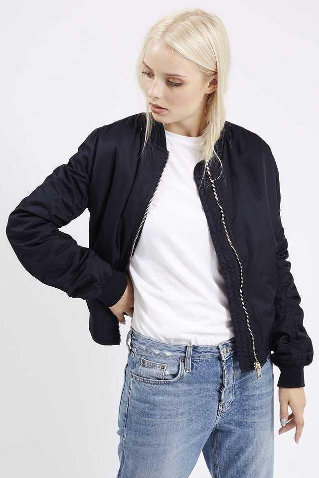 itGirl Shop SATIN SHINY ZIPPER WINDBRAKER BOMBER JACKET