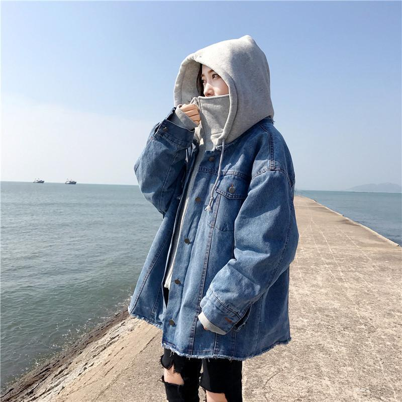 itGirl Shop SCHOOL HIGH COLLAR DENIM COTTON ZIPPER HOODED JACKET