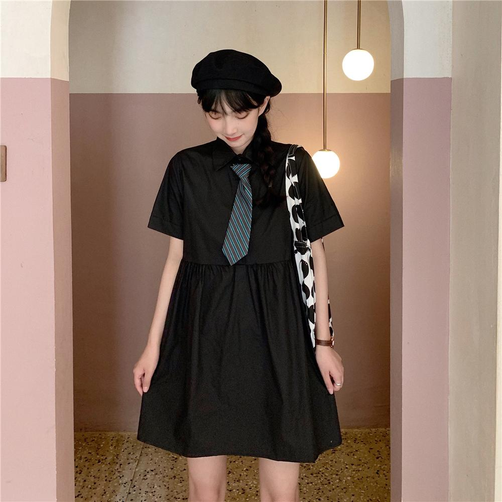 itGirl Shop SCHOOL STYLE OVERSIZED MINI DRESS WITH STRIPED TIE