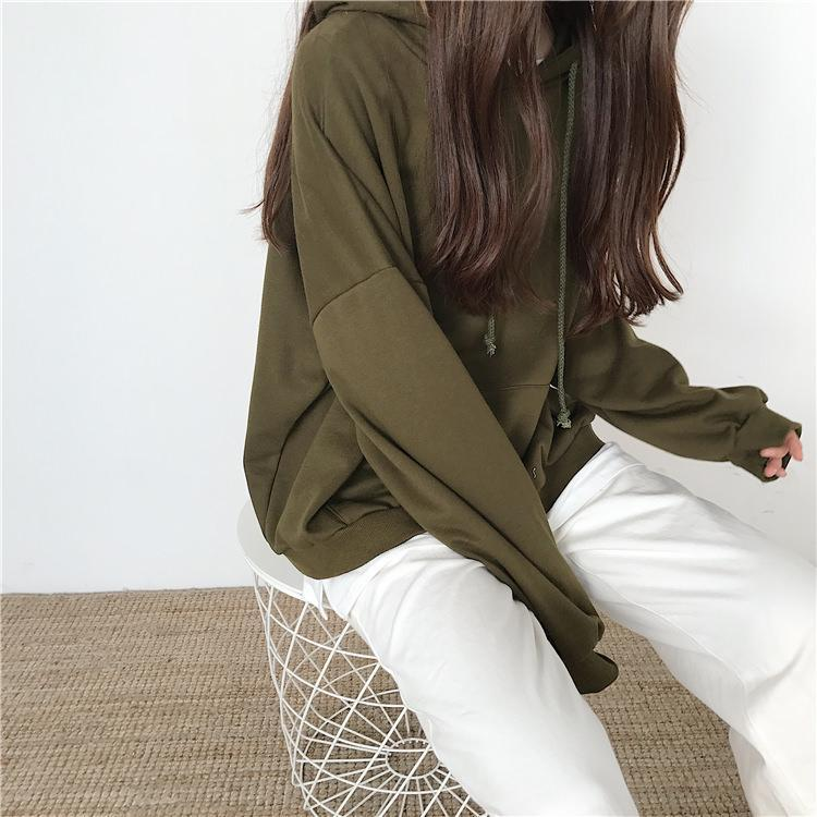 itGirl Shop SEVEN COLORS OVERSIZED FRONT POCKET LONG SLEEVE HOODIE