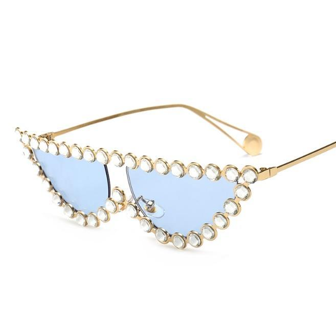 itGirl Shop SHINY ELEGANT METALLIC FRAME DIAMOND SUNGLASSES