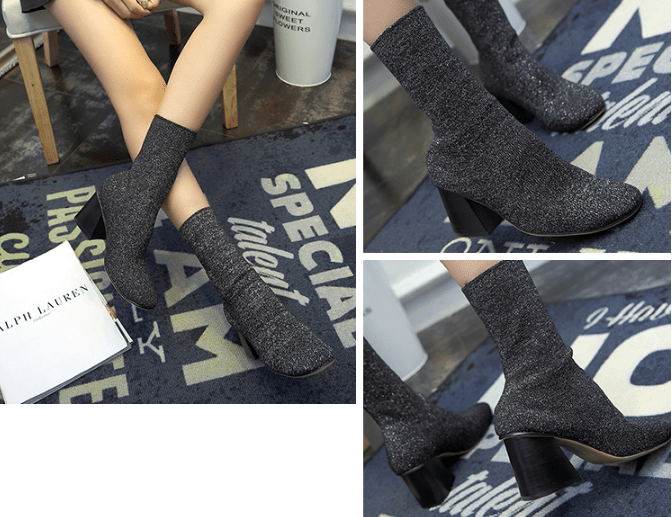 itGirl Shop SHINY GRAY KNIT ELASTIC CLOSED BOOTS