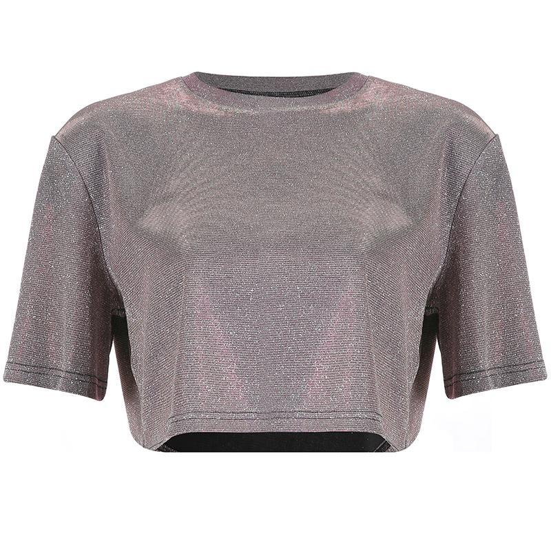 itGirl Shop SHINY LUREX ROUND NECK OVERSIZED CROPPED TOP
